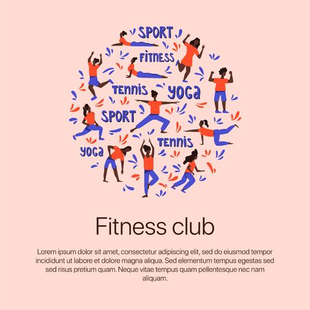 Girls in sports clothes doing sports vector flat illustration with hand drawn lettering. Round banner template for fitness club, yoga studio or sports bsnner design.