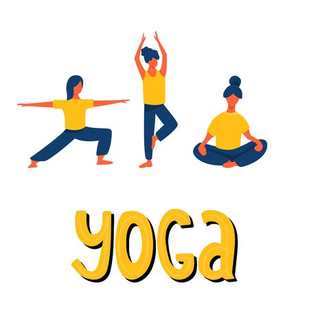 Girls stretching and doing yoga vector flat illustration with hand drawn lettering. Women in sport clothes. Yoga studio, active recreation, healthy lifestyle, pilates card design.