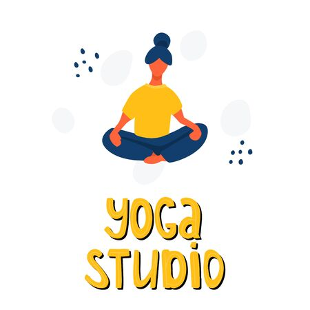 Girl stretching and doing yoga vector flat illustration with hand drawn lettering. Woman in sport clothes. Yoga studio, active recreation, healthy lifestyle, pilates card design.