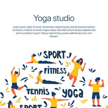 Girls in sports clothes doing sports vector flat illustration with hand drawn lettering. Round banner template for yoga studio or sports bsnner design.