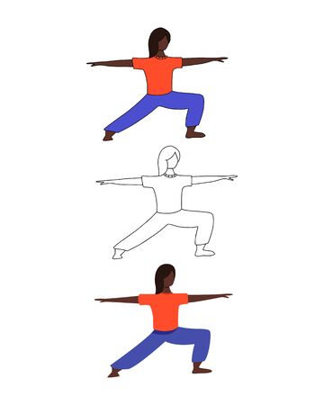 Set of three female characters. Girl in flat, cartoon and line style. Vector illustration of women doing yoga. Vectores