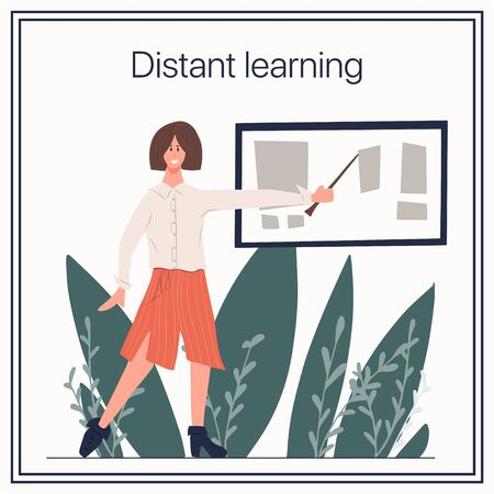 Distant learning vector flat card template. Woman standing with stick and showing on blackboard. Distant learning during quarantine and self isolation.