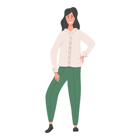 Young smiling woman in casual clothes standing vector flat illustration. Иллюстрация