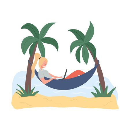 Young girl lying in hammock and working on laptop vector flat illustration. Summer vacation, self employed, freelance, distant working hand drawn illustration. Stock Illustratie