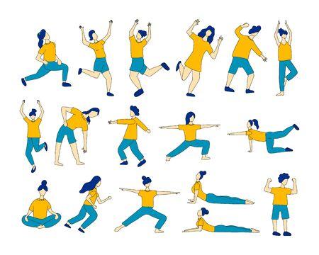 Set of girls doing sport or yoga vector cartoon illustration on white background.