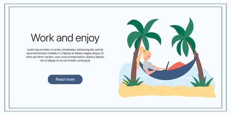 Work and enjoy banner template. Woman lying in hammock and working on laptop vector flat illustration. Vettoriali