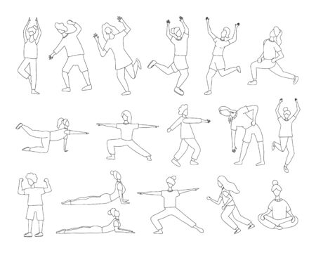 Set of girls doing sport or yoga vector outline illustration. Women in sport clothes hand drawn concept. Ilustração