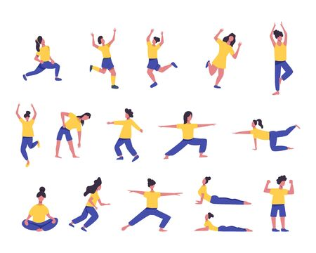Set of girls doing sport or yoga vector flat illustration. Women in sport clothes hand drawn concept. Active recreation, healthy lifestyle, pilates, fitness, meditation female characters. Ilustração Vetorial