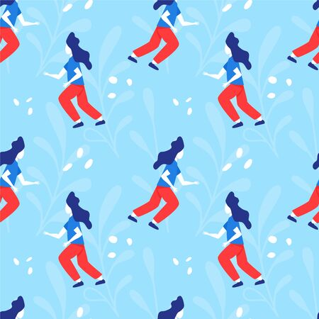 Girl running vector flat seamless pattern. Woman in sport clothes on blue background hand drawn concept.