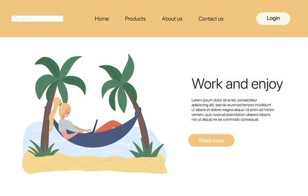 Work and enjoy landing page template. Woman lying in hammock and working on laptop.