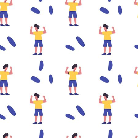Girl doing sport vector flst seamless pattern.Active recreation, healthy lifestyle, pilates, fitness, meditation background design. 矢量图像