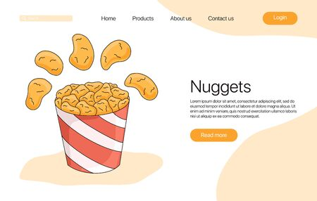 Fried chicken meat in bucket vector cartoon landing page concept. Bright colorful tasty fast food nuggets concept for restaurant, cafe, web design. Illusztráció
