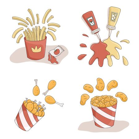 Set of fast food vector cartoon illustrations. French fries, ketchup, mustard, fried chicken, and nuggets in bucket. Bright takeaway food illustration for cafe, restaurant, menu design. Illusztráció