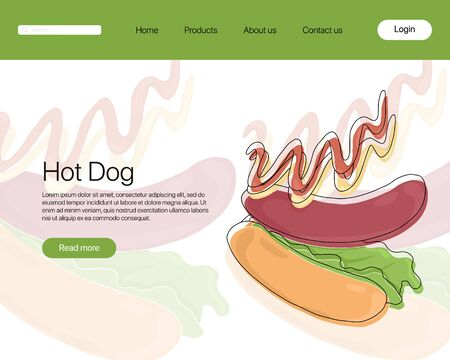 American hot dog vector cartoon landing page template. Bright fastfood with bun, sausage, leaves lettuce, ketchup, and mustard. Tasty food concept for cafe, restaurant, menu design. Illustration