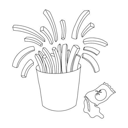 French fries in paper box vector outline illustration. Tasty fast food fried potato with tomato sauce. Food illustration for cafe, restaurant, menu design. Illustration