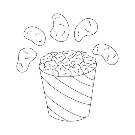 Fried chicken meat in bucket vector outline illustration isolated on white background. Tasty fast food nuggets concept for restaurant, cafe, web design.