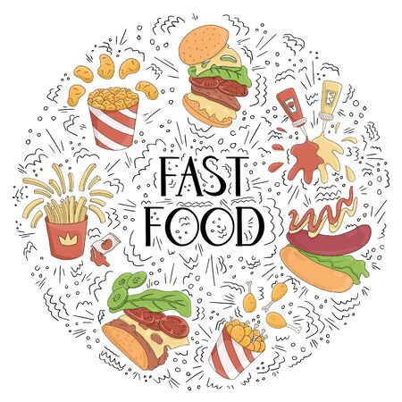 Fast food vector cartoon card concept with hand drawn lettering. French fries, burger, hot dog, nuggets, fried chicken, ketchup, and mustard illustration with doodle elements. Illusztráció