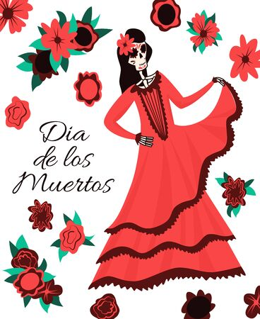 Dia de Los Muertos, traditional Mexican Halloween vector flat cartoon card design with flowers and text. Day of the dead decoration. Happy skeleton female character in traditional Mexican dress.