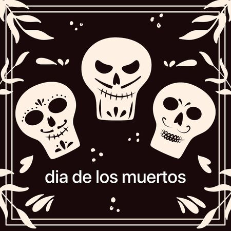Dia de Los Muertos, traditional Mexican Halloween vector flat cartoon card design with text space. Sugar skull, skeleton head for Day of the dead.