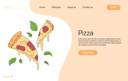 Pizza slice vector cartoon landing page design. Italian fast food with melted cheese and pepperoni. European snack. Bright colorful tasty fast food concept for restaurant, cafe, web design.