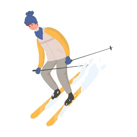 Young happy man in winter outwear skiing on snow vector flat cartoon illustration. The male character at ski resort, winter activities.