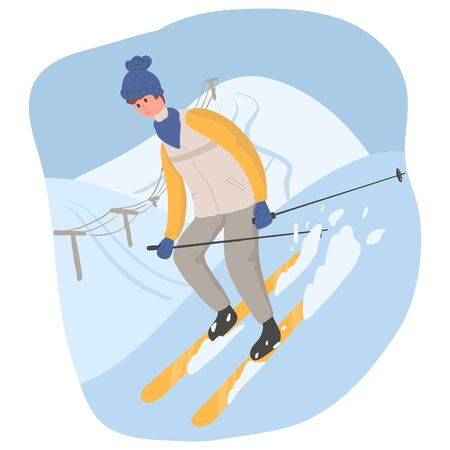 Young happy man in winter outwear skiing on snow vector flat cartoon illustration. The male character at ski resort, winter activities, winter landscape. Ilustracja