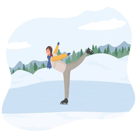 Young happy girl riding on skates vector flat cartoon illustration. winter landscape. Female character skating in winter clothes, doing winter activities. Ski resort concept for design and web.