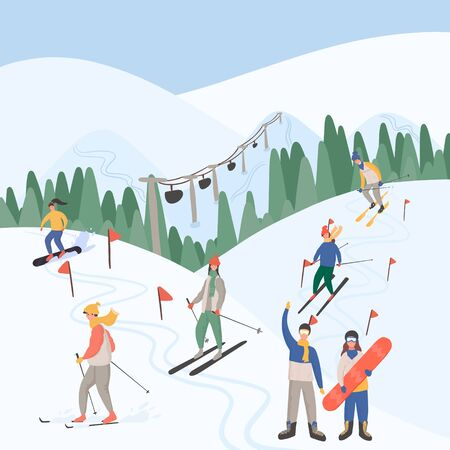 Winter ski resort landscape and people doing winter activities vector flat concept. Alps, fir trees, ski lift, mountains wide panoramic background. People skiing, snowboarding, skating.