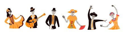 Set of happy smiling skeleton characters in traditional Mexican costume. Dia de Los Muertos, traditional Mexican Halloween vector flat cartoon illustration. Day of the dead concept.