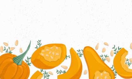Autumn pumpkin border vector cartoon illustration. Banner for thanksgiving, halloween or farm market design.