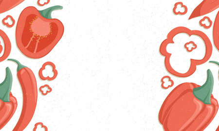 Autumn bell peppers border vector cartoon illustration. Chili peppers horizontal banner.