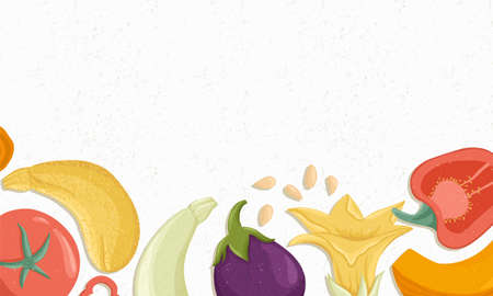 Tomatoes, bell peppers, zucchini, pumpkin, eggplants horizontal banner or frame for farm market design.