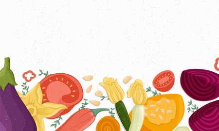Tomatoes, zucchini, pumpkin, eggplants,beetroot horizontal banner or frame for farm market design. Illustration