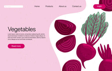 beets landing page template with text space. Beetroot cartoon illustration. Healthy organic beet slices and leaves web page design.