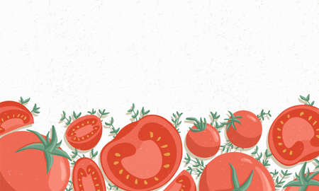 Autumn tomatoes border cartoon illustration. Red cherry tomatoes horizontal banner or frame for farm market design. Vegetable background. Çizim