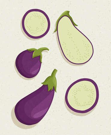 eggplant cartoon illustration with textures. Healthy organic eggplant slices for autumn farm market design.