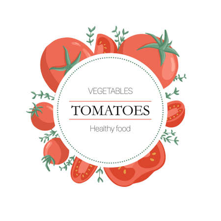 cherry tomatoes and rosemary round background in cartoon style for autumn farm market design. Çizim