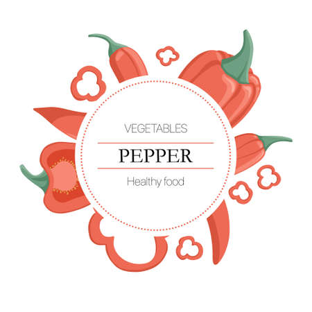 bell peppers and chili peppers round background in cartoon style for autumn farm market design.
