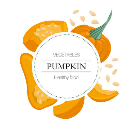 squash and pumpkin seeds round background in cartoon style for autumn farm market design.