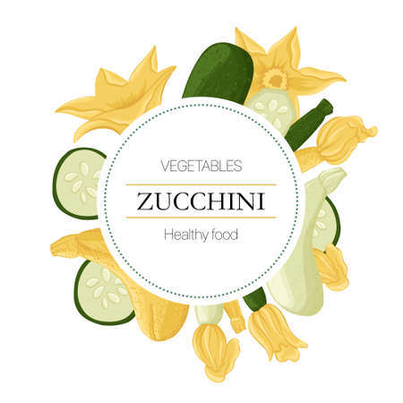 courgettes and zucchini flowers round background in cartoon style for autumn farm market design. Çizim