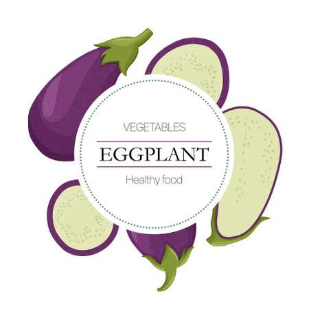 eggplant slices round background in cartoon style for autumn farm market design. Çizim