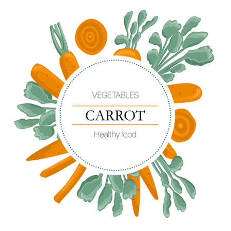 carrot slices round background in cartoon style for autumn farm market design.