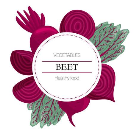 beetroot slices round background in cartoon style for autumn market design.