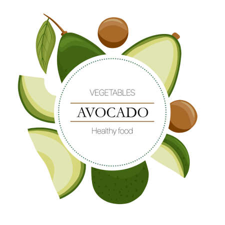 avocado slices round background in cartoon style for autumn market design.