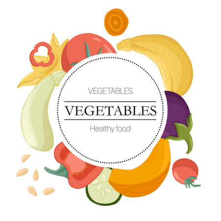vegetables round label with text space. Tomatoes, bell peppers, zucchini, pumpkin, eggplants round background.