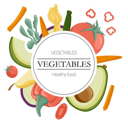 Vector vegetables round label with text space. Tomatoes, avocado, carrot, bell peppers, eggplants round background.