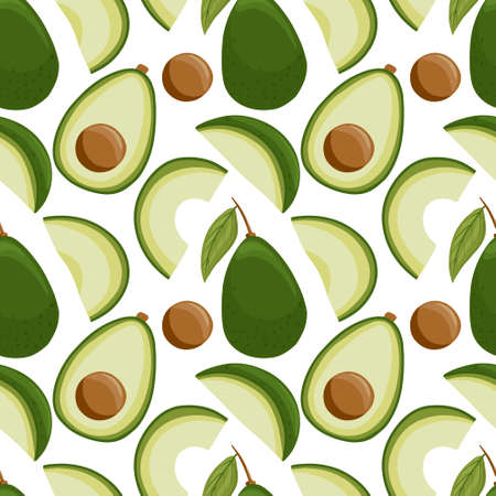 avocado seamless pattern in cartoon style. Bright avocado vegetables isolated on white background.