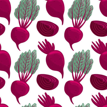 beetroot seamless pattern in cartoon style. Healthy organic beets with leaves and beetroot slices. Çizim
