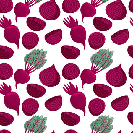 beetroot pattern in cartoon style. Healthy organic beets with leaves and beetroot slices. Çizim