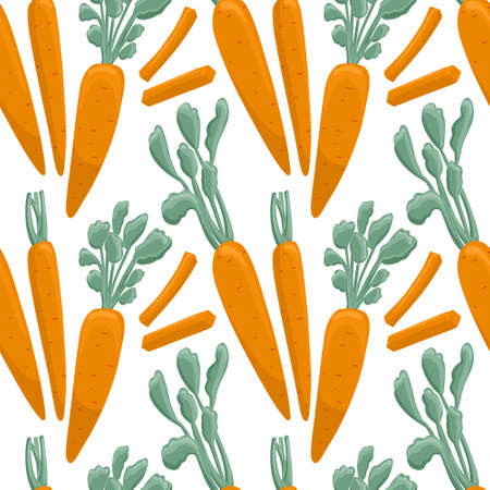 carrot pattern in cartoon style. Healthy organic carrots with leaves and slices.